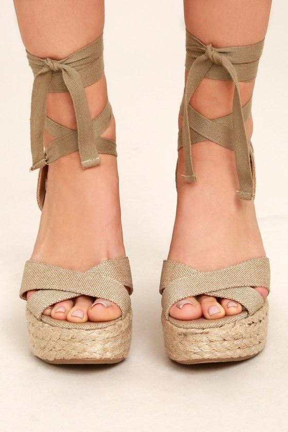 f300e618bc2a Stylish Beige Wedges - Espadrille Wedges - Lace-Up Wedges