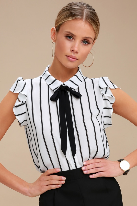 Burke Black and White Striped Tie-Neck Top - Lulus