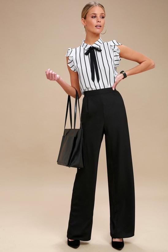 Burke Black and White Striped Tie-Neck Top