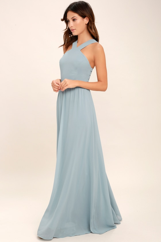 Beautiful Light Blue Dress - Maxi Dress - Halter Dress 3036904e3
