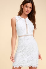 f78739b375e5 Lovely White Lace Dress - White and Nude Lace Dress - Bodycon Dress