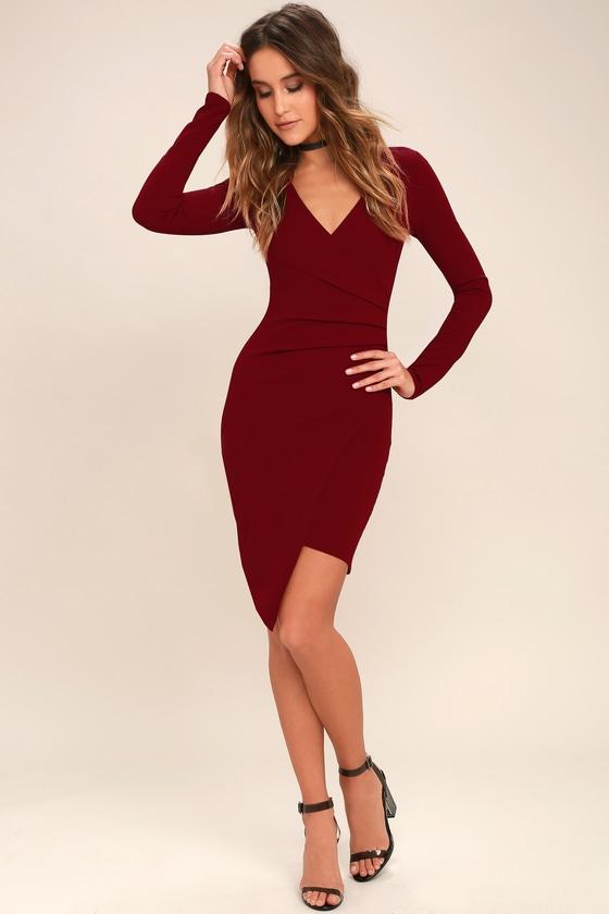 1db13668256f Sexy Dark Red Dress - Long Sleeve Dress - Bodycon Dress