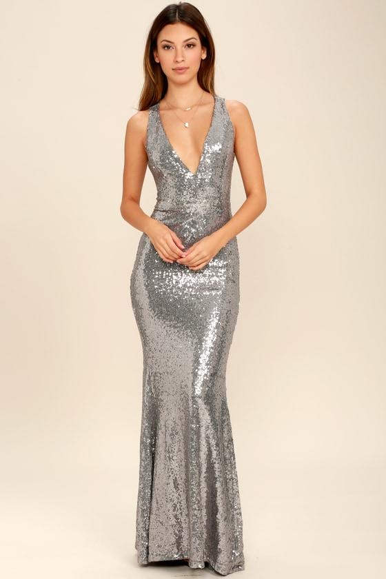 d0a27ada0a7 Stunning Pewter Dress - Maxi Dress - Sequin Dress - Backless Dress -  84.00