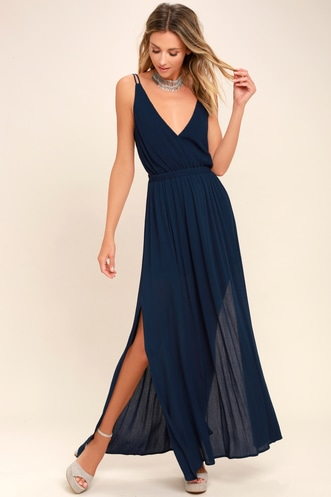 1c5469d240e Lost in Paradise Navy Blue Maxi Dress