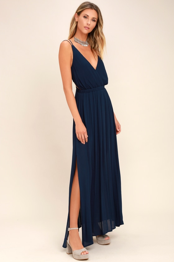 7334134eb Navy Blue Dress - Strappy Dress - Maxi Dress