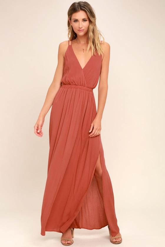 Rusty Rose Dress Strappy Dress Maxi Dress