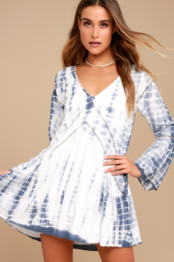 d26fe28de840 Amuse Society Topaz Dress - Blue and White Dress - Tie-Dye Dress - Long  Sleeve Dress -  88.00
