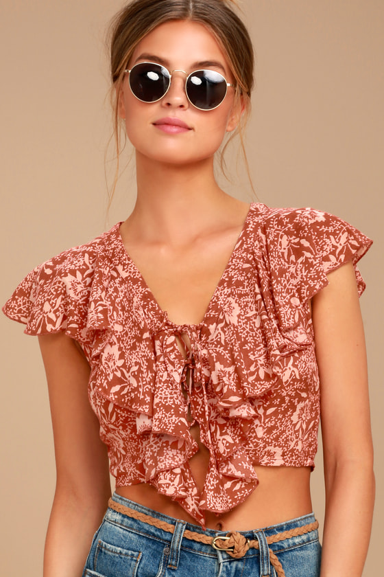 bdea29373bd5cc Amuse Society Solana - Rust Red Crop Top - Floral Print Top - Lace-Up Top -   54.00