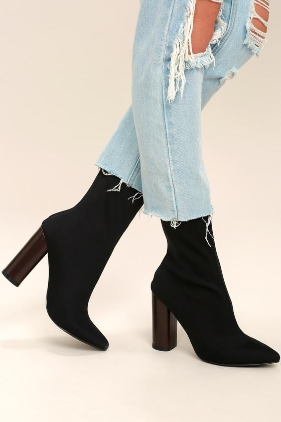 e8a2629c2e42 Chic Black Boots - Mid-Calf Boots - Sock Boots - Knit Boots -  50.00