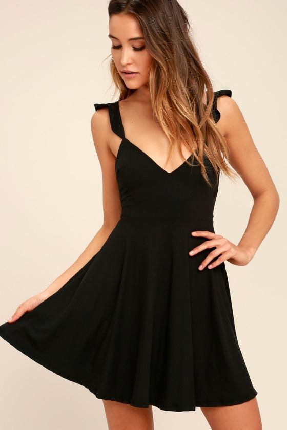 9e4f412ba03 Black Dress - Backless Skater Dress - Fit-and-Flare Dress