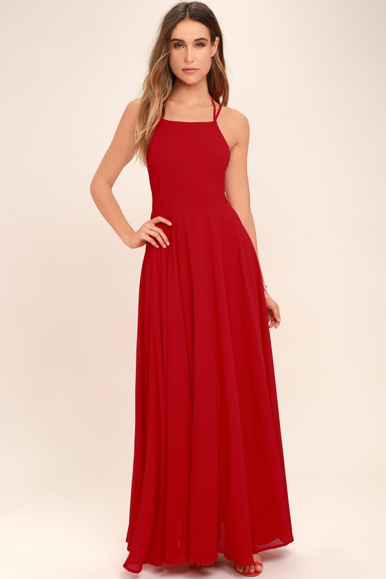chic red dress  laceup dress  backless dress  maxi dress