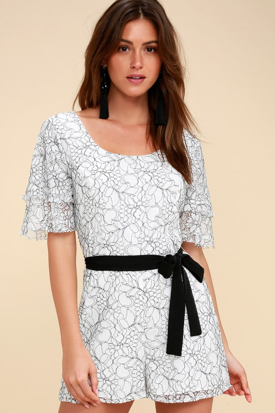 Tower Bar Black And White Lace Romper by Ali & Jay