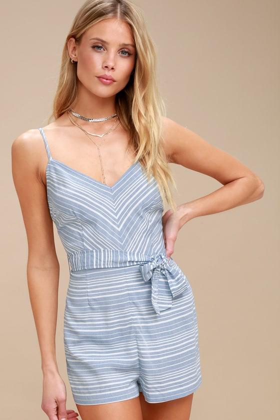 98ec8ea268 BB Dakota Nissa Romper - Blue and White Striped Romper