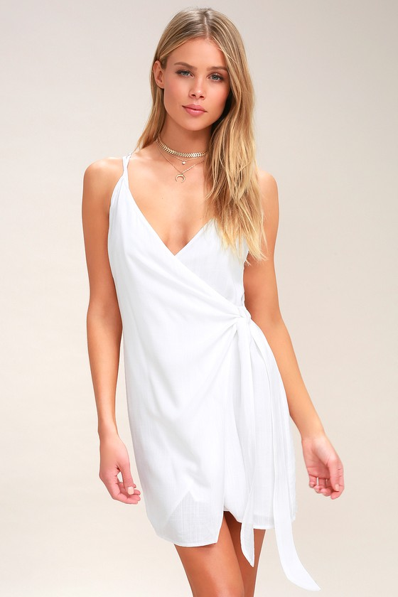 44e8197c41266 Cute White Swim Cover-Up - Wrap Dress - Resort Wear