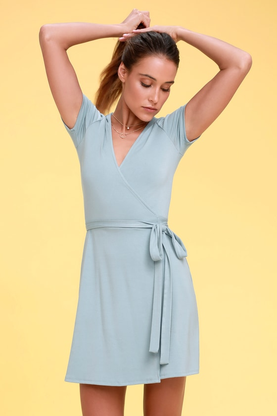 aaec9964587 Cute Light Blue Wrap Dress - Jersey Wrap Dress