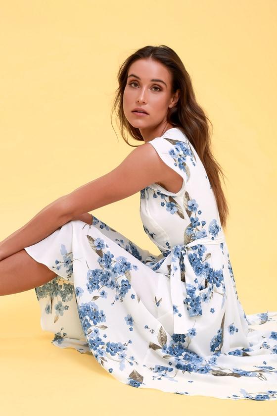 aecc6dd2bb10d Lovely White Floral Print Dress - High-Low Wrap Dress