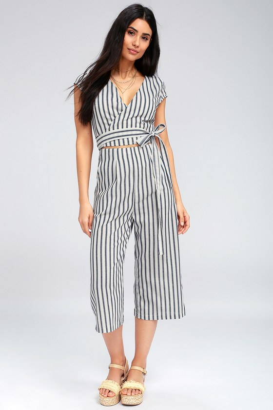 6b1a07436cf7 Chic Blue and White Striped Jumpsuit - Wrap Culotte Jumpsuit