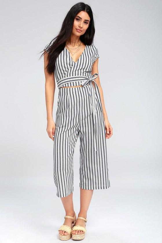 8b49281ab566 Chic Blue and White Striped Jumpsuit - Wrap Culotte Jumpsuit
