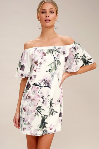 4f27454de6b3 Dream of You Ivory Floral Print Off-the-Shoulder Shift Dress
