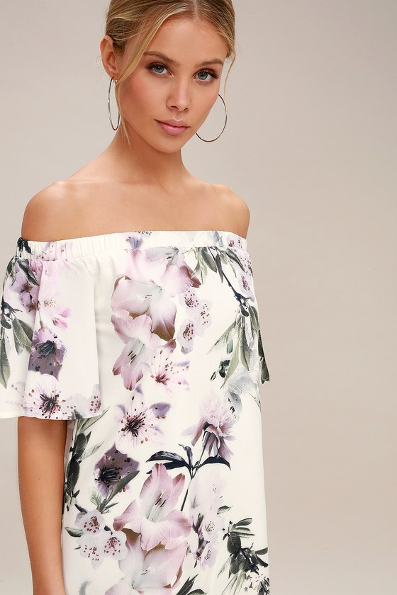 e4092936d022 Dream of You Ivory Floral Print Off-the-Shoulder Shift Dress