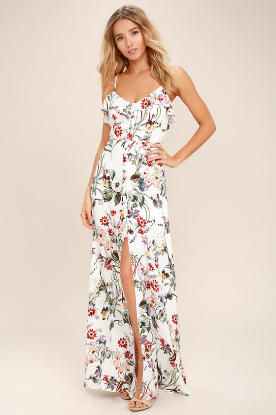 on feet at quality moderate price Bloom On Ivory Floral Print Maxi Dress