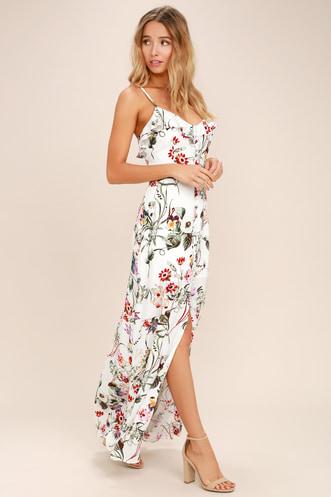 f6c664cb245 Bloom On Ivory Floral Print Maxi Dress
