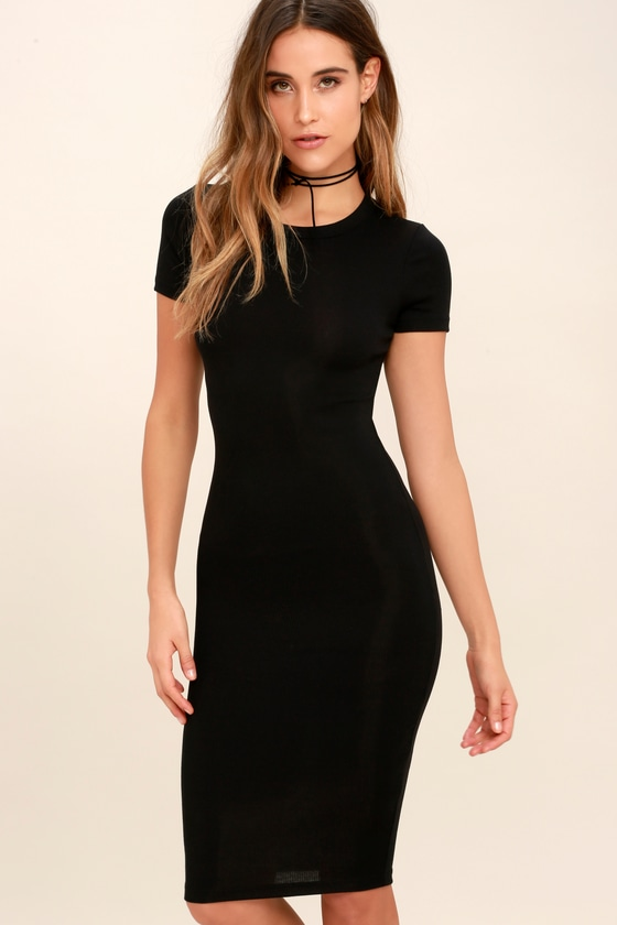 2e7a85abcb6 Cute Black Dress - Bodycon Midi Dress - Short Sleeve Dress