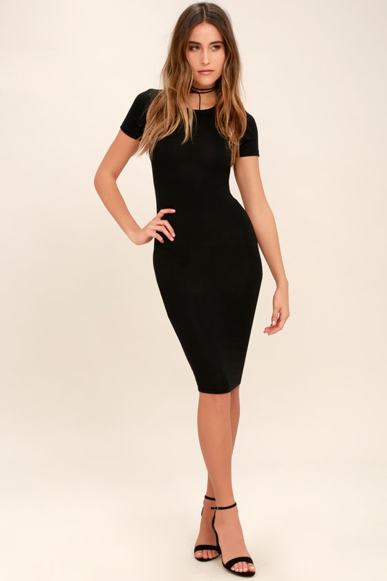 9d46f97822ba Cute Black Dress - Bodycon Midi Dress - Short Sleeve Dress