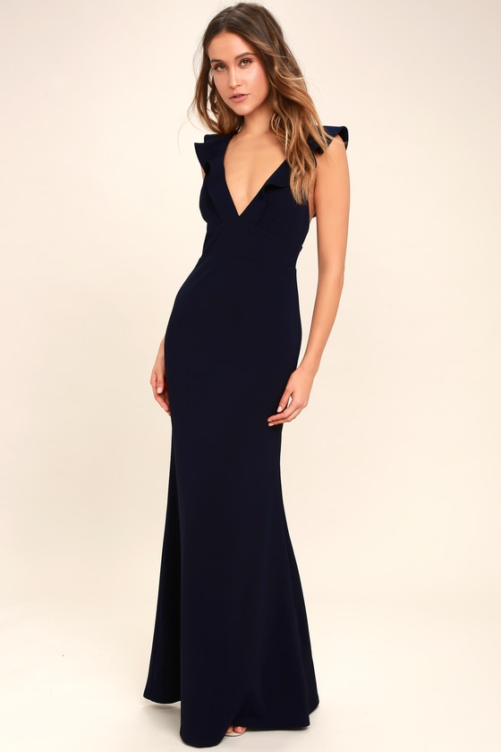 78e291ecb4 Lovely Navy Blue Dress - Maxi Dress - Mermaid Maxi - Gown - $98.00