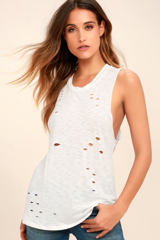 Total Package White Distressed Muscle Tee 9