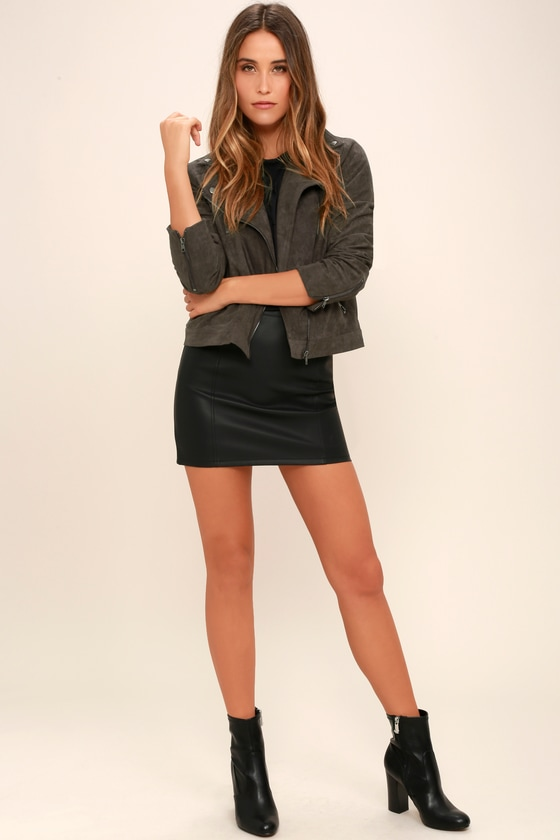 9d36613ea Catch You on the Flip Side Charcoal Grey Suede Moto Jacket