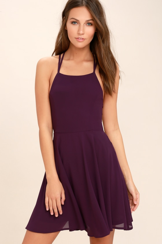 Sexy Plum Purple Dress - Lace-Up Dress - Backless Dress - $44.00
