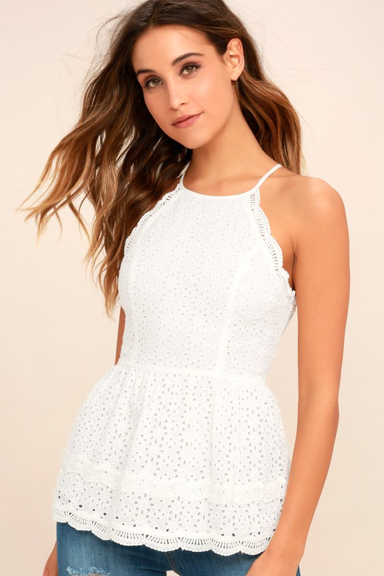 05f192e52e Lovely White Lace Top - Eyelet Lace Top - Lace Peplum Top