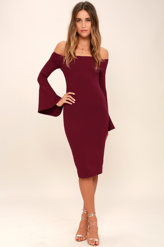 f2602f269e83 Chic Burgundy Dress - Off-the-Shoulder Dress - Midi Dress
