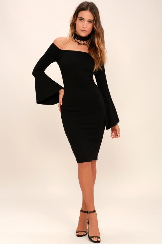 Chic Black Dress - Flounce Sleeve Dress - Midi Dress f9188f220