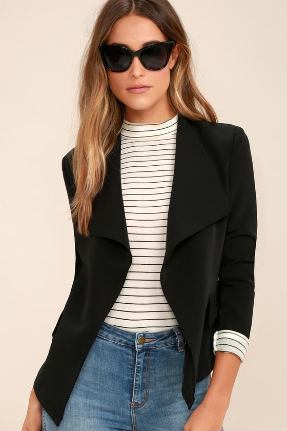 7caf616c1d96 Chic Black Blazer - Cropped Blazer - Collarless Blazer