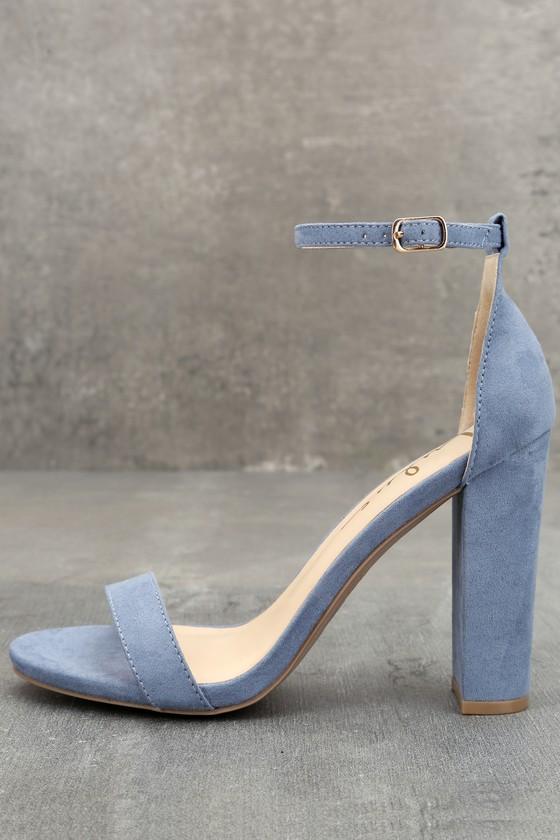 Blue Suede Heels - Ankle Strap Heels