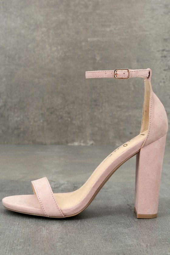 63ae99e9a8a Sexy Blush Suede Heels - Ankle Strap Heels - Blush Heels