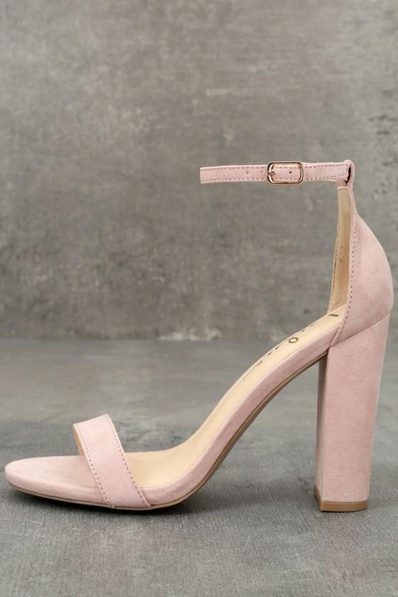 da2869c25bc3f Sexy Blush Suede Heels - Ankle Strap Heels - Blush Heels