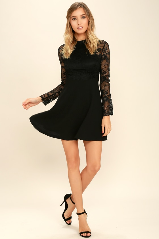 a6bbb0ca3f Lovely Black Lace Dress - Long Sleeve Lace Dress - Skater Dress -  58.00