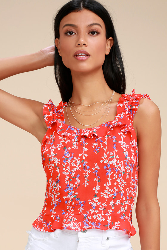 f8c2dc52ed4728 Moon River Floral Ruffle Crop Top - Red Tank Top