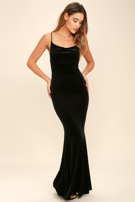 Sexy Velvet Dress - Black Dress - Mermaid
