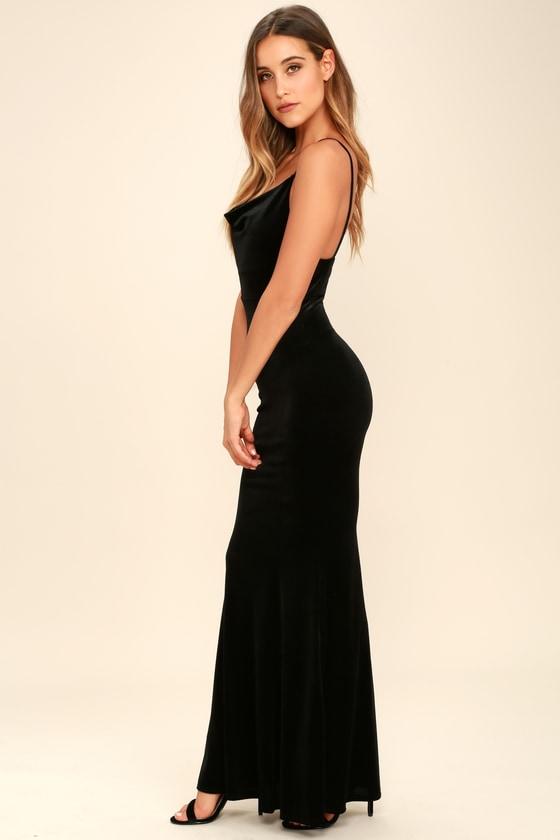 c7a874576ef8 Sexy Velvet Dress - Black Dress - Mermaid Maxi Dress - Bodycon Maxi ...