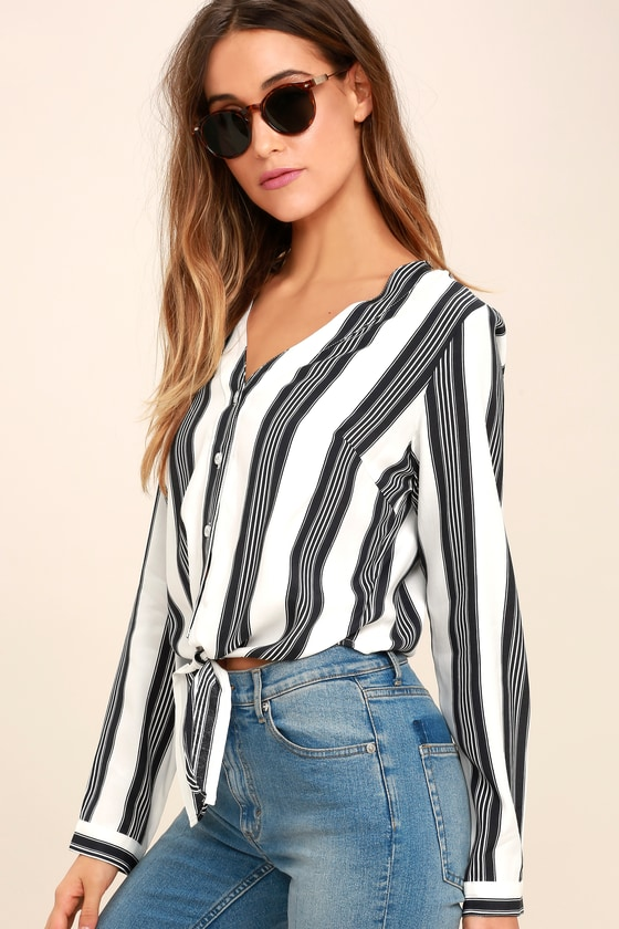 0fde7e233a0 Cool Black and White Striped Top - Long Sleeve Top - $49.00