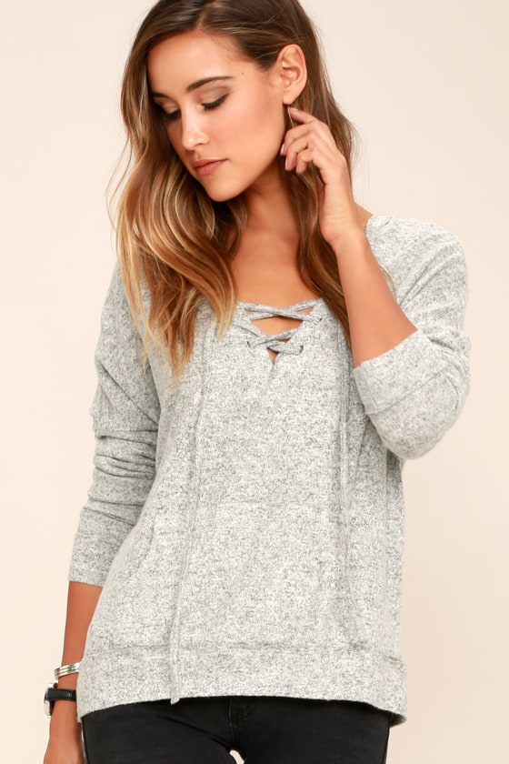 2be16d79354b Cozy Heather Grey Hoodie - Lace-Up Hoodie - Hooded Sweater