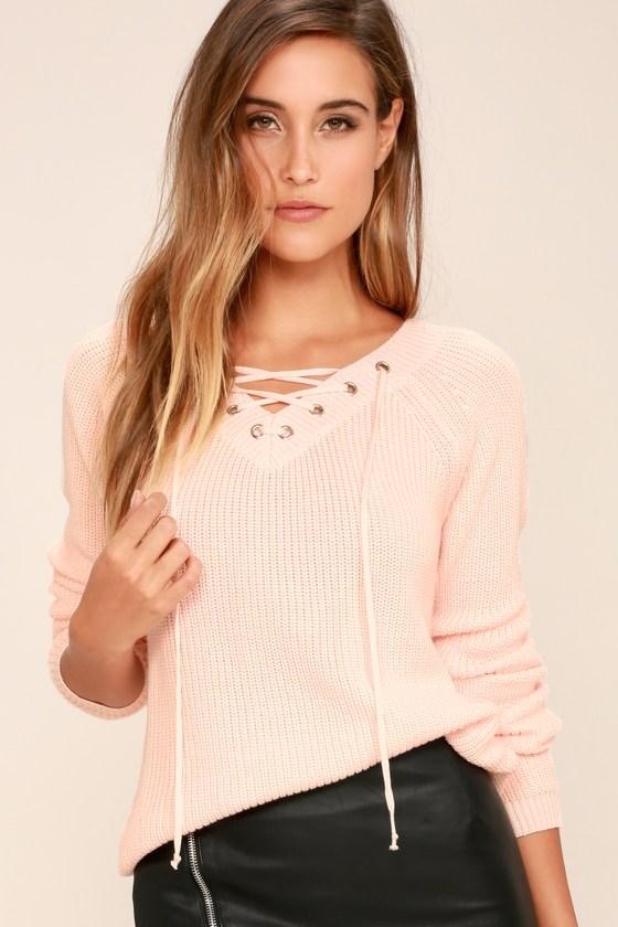 f9ffb5d8374 Cute Peach Sweater - Lace-Up Sweater - V-Neck Sweater -  39.00