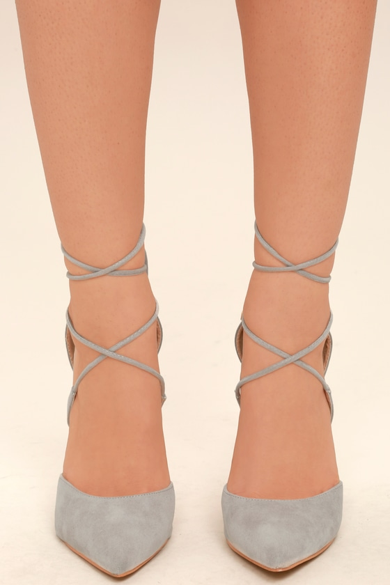 4761a5f5018 Dani Grey Suede Lace-Up Heels
