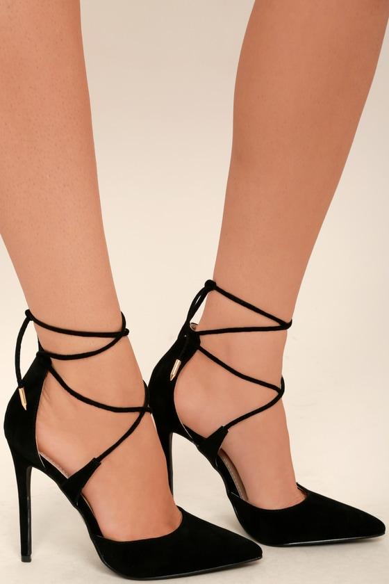 Dani Black Suede Lace Up Heels