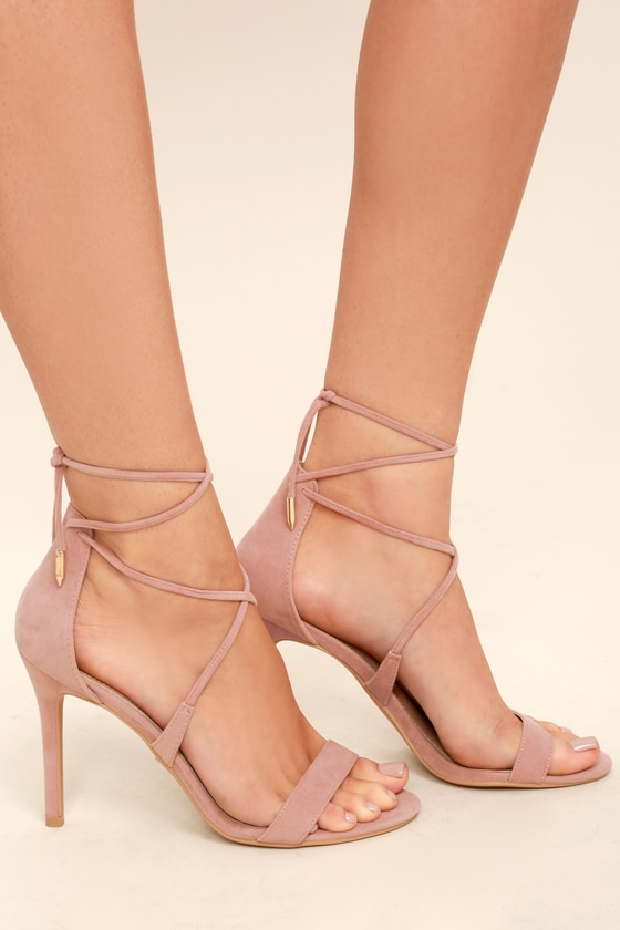 Lulus Aimee Dusty Rose Suede Lace-Up Heels - Lulus Or72f6BuP