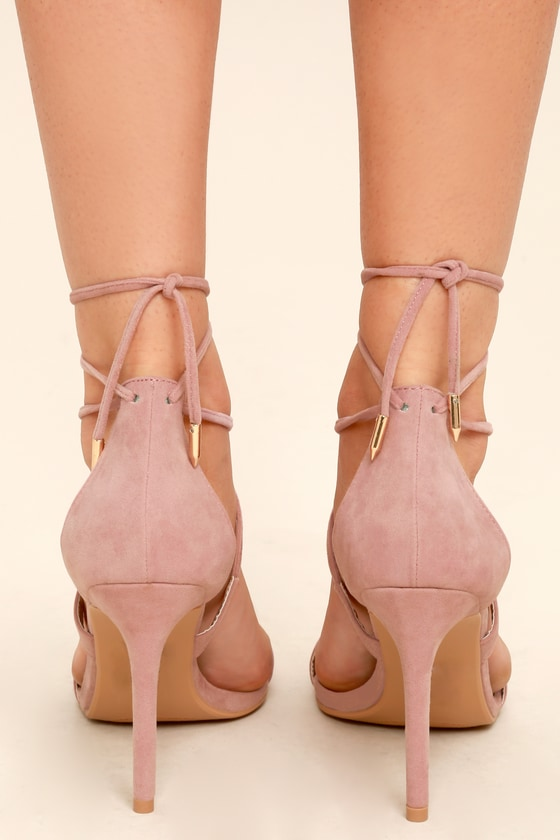 0b9743e6cb4 Aimee Dusty Rose Suede Lace-Up Heels